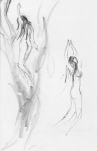 sketch drawing art ladies swim figure study nude