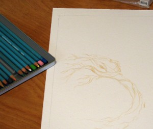 art new gouache sketch tree crows