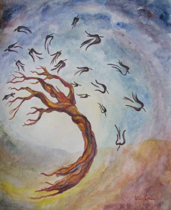 art new gouache painting tree crows cosmic