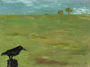 """one for sorrow"" acrylic canvas landscape bird tree crow pallete knife"