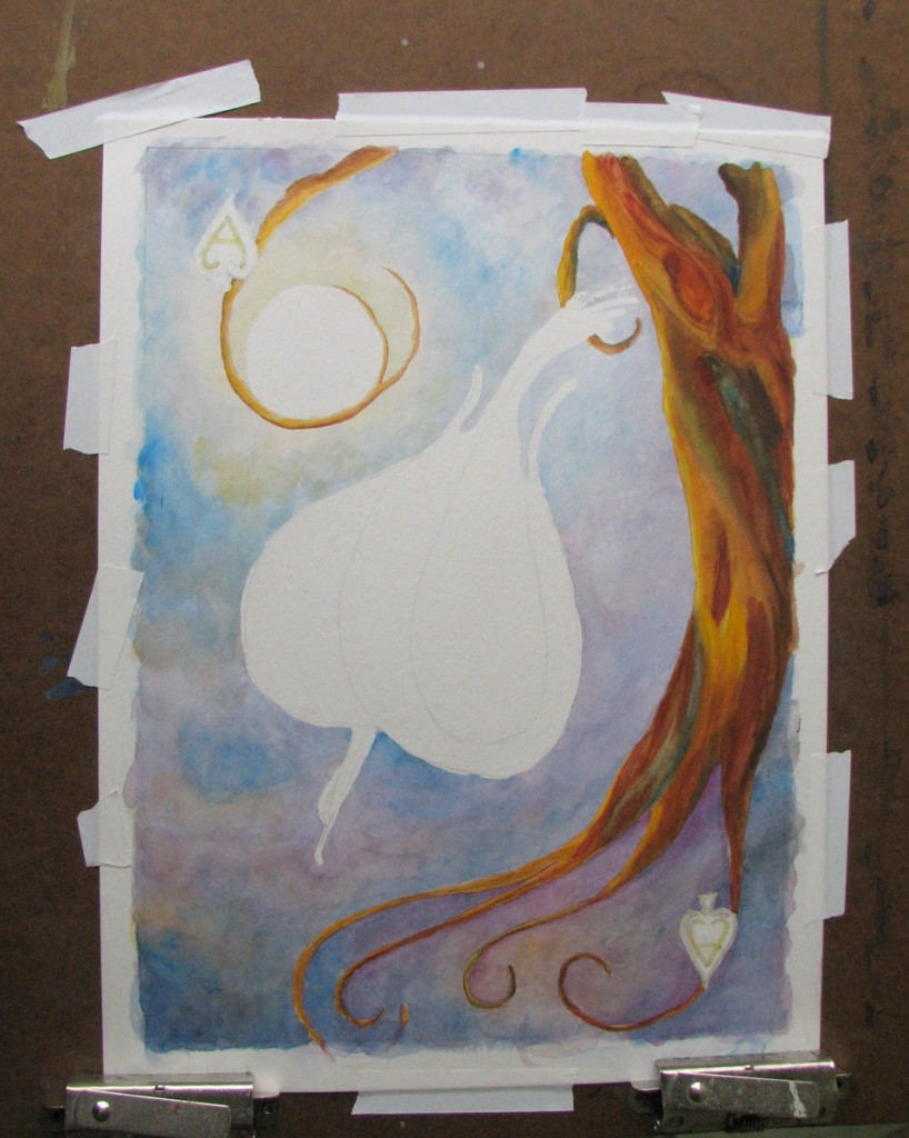 Art-in-Hand WIP Ace Spades Bird Tree Gouache Moon Card Deck Playing-card