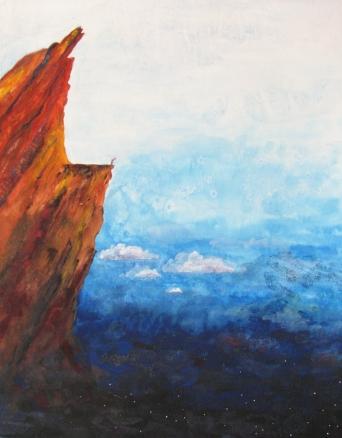 """edge of night"" ""Lesley Atlansky"" goauche paper landscape night clouds rock mountain LOTR ROTK Pippin"