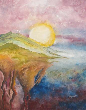 "elemental ""roke knoll"" earthsea ""lesley atlansky"" landscape gouache moon roots"