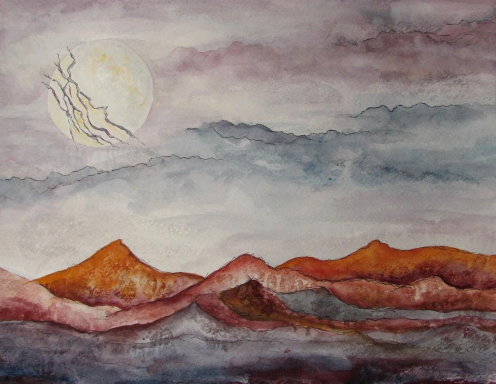 lightning-moon lightning moon full-moon august landscape abstract